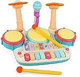 WWYYZ 5 en 1 Instrumentos Musicales Juguetes, Piano de Juguete, Teclado de Piano electrónico para niños Xilófono Juego de Juguetes de batería con luz, niños
