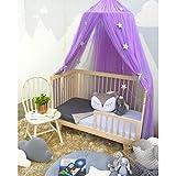 Betthimmel Baldachin Rund Babybett Moskitonetz Kinder Spielzelte Stubenwagen Himmelset Babybettausstattung Baldachin Kinderzimmer (Lila)