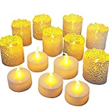 Flameless LED Tea Light Candles,Realistic and Bright Flickering Bulb Battery Operated Fake Candle for Home and Garden Wedding,Party,Festival Decorations (25pcs Tea Light and White Wraps)