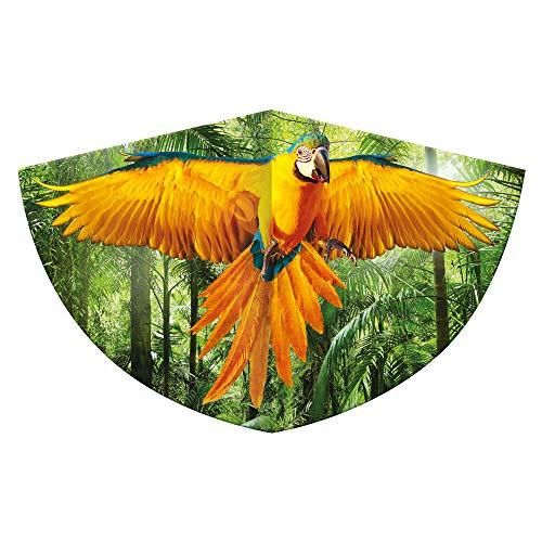 Kinderdrachen mit einem Papagei als Motiv, Einleinerdrachen aus robuster PE-Folie mit verstellbarer Drachenwaage, für Kinder ab 4 Jahre mit Wickelgriff und Schnur, ca. 75 x 48 cm groß