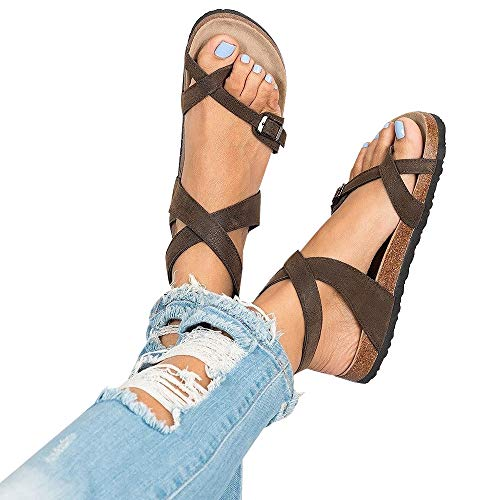 Chenghe Women's Fashion Flat Ankle Buckle Sandals Gladiator Thong Flip Flop Mayari Sandals Brown US 6