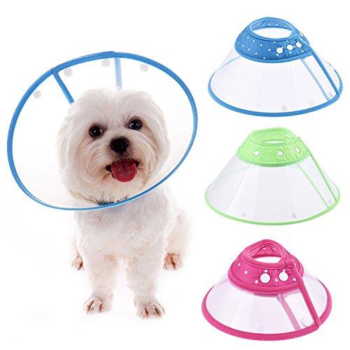 AZX Colorido Lunares plástico recuperación Collares Collares Cono Herida curación Remedio Recuperación Protectora para Perro Gato