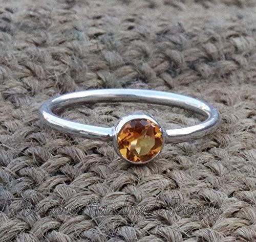 Gift For Mother, Sterling Ring Natural Citrine in 925 Sterling Silver Boho Ring Silver Ring Citrine Ring