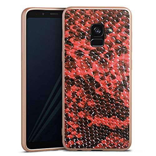 DeinDesign Silikon Hülle Gold Case Schutzhülle kompatibel mit Samsung Galaxy A8 Duos 2018 Schlangenhaut Look Schlange