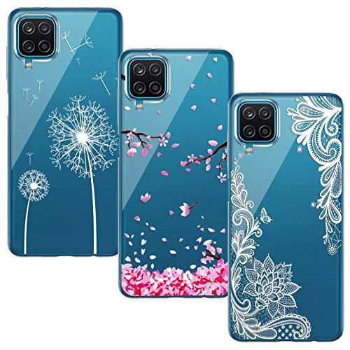 Yoowei [3-Pack] Funda Compatible con Samsung Galaxy A12, Transparente con Dibujos Ultra Fino Suave TPU Silicona Protector Carcasa (Flor de Cerezo + Flor Blanca + Diente de León)