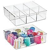mDesign Juego de 2 cajas organizadoras con 6 compartimentos – Práctico organizador de plástico sin BPA para los armarios del dormitorio – Fantástica caja para ropa y accesorios – transparente