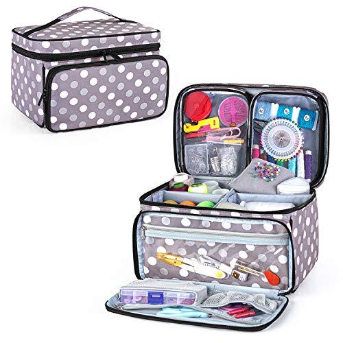 Luxja Aufbewahrungstasche für Nähzeug, Schachtel mit Nähzubehör mit 2 abnehmbaren transparenten Taschen, Aufbewahrung für Nähmaterialien, graue Stiche (nur Tasche)