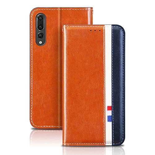 YaMiDe Funda para Huawei P40 Lite, Compatible con Huawei Nova 6SE and Nova 7i, Piel Sintética de Primera Calidad, Funda de Cuero con Tapa Magnética, Marrón con Azul