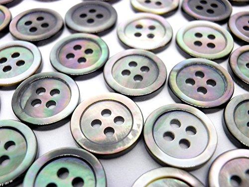 裏面までこだわった 至高の貝ボタン 黒蝶貝ボタン 1.8mm厚 定番型 SH-117 4穴 10mm お得な50個セット