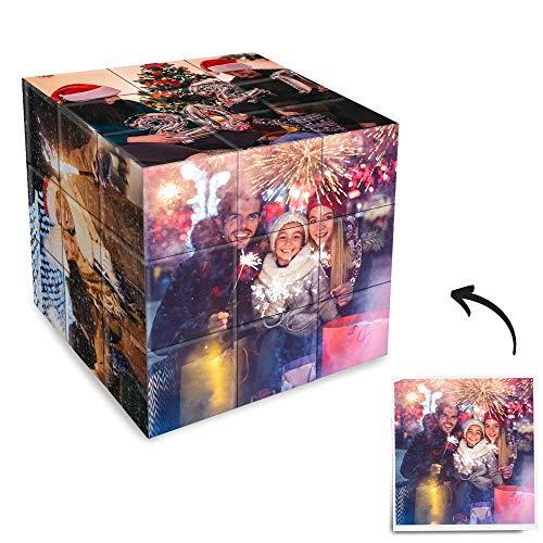 Soufeel Personalisiertes Zauberwürfel mit Bildern Magic Eigenes Foto Bedrucken Selbst Gestalten Puzzle Lustiges Geschenk für Kinder Freund Liebe Weihnachten Geburtstag