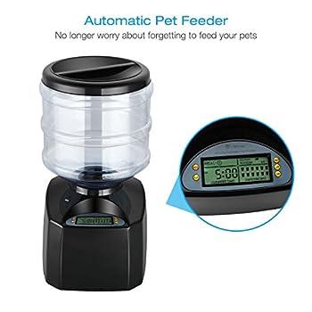 isYoung 5.5L Distributeur Automatique de croquettes avec Grand Écran Distributeur de Nourriture et Gamelle pour Chien Chat et Animaux Domestiques-Supporte Batterie et Adaptateur