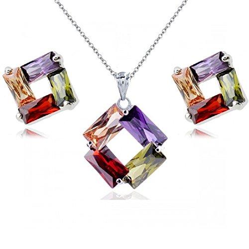 Colorido Cristales austríacos de Zirconia Rombo Juego de Joyas Collar con Colgante 45 cm Pendientes 18k Chapado en Oro Blanco para Mujer