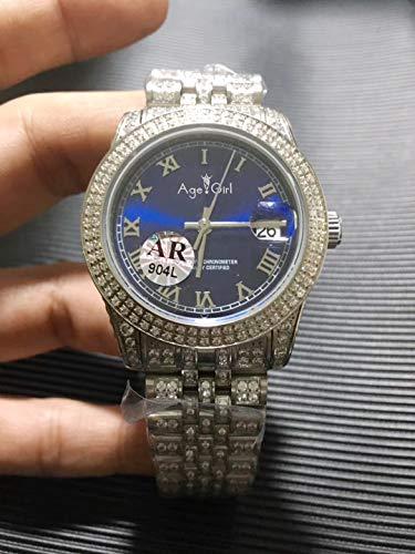 N-A Klassische Mode Männer Tag Datum Silber Iced Diamonds Lünette Rom Blaues Zifferblatt Automatische mechanische 904l Edelstahl Saphir Uhr