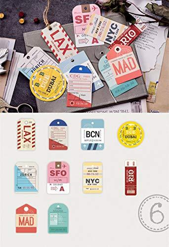55PCS Retro Decorative Stickers Cards Envelopes Postcard Pack, Doraking DIY Vintage Decoration Stickers Decal Card for…