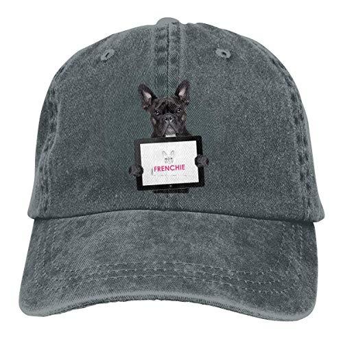 French Bulldog Frenchie Hat, Cap Unisex Vintage Trucker Hat, Adjustable Cowboy Darkgrey
