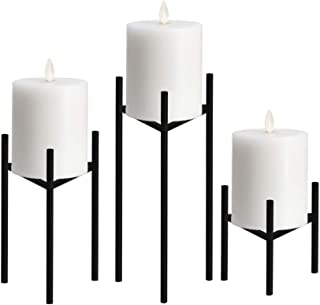 Only-us Metal Pillar Candle Holders Set of 3 Black Candlesticks for Fireplace/Living Room/Dinning Room Table Candelabra Decoration Modern Art Classic Design with Geometric Shape