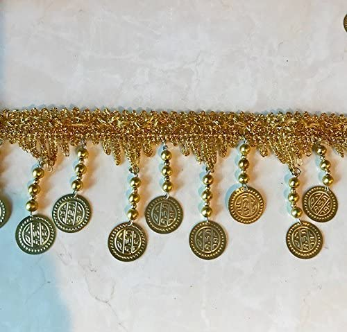 Excellent Metal Coin Beaded Fringe Gold Max 86% OFF in Long 3''