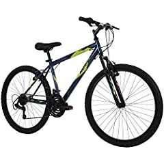 Assembly tutorial video located beside the images; with a Denim Blue hardtail frame and 21 speeds to conquer the trails, the Huffy Stone Mountain is ready for outdoor adventures; just follow the steps in our product manual An exclusive: Ideal for age...