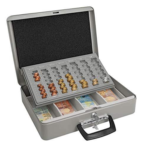 Wedo 149100812 - Caja metálica para dinero (2 llaves, soporte para monedas con marcas y desprendible, 4 compartimentos para billetes, chapado en acero, 37 x 29 x 11 cm), color gris
