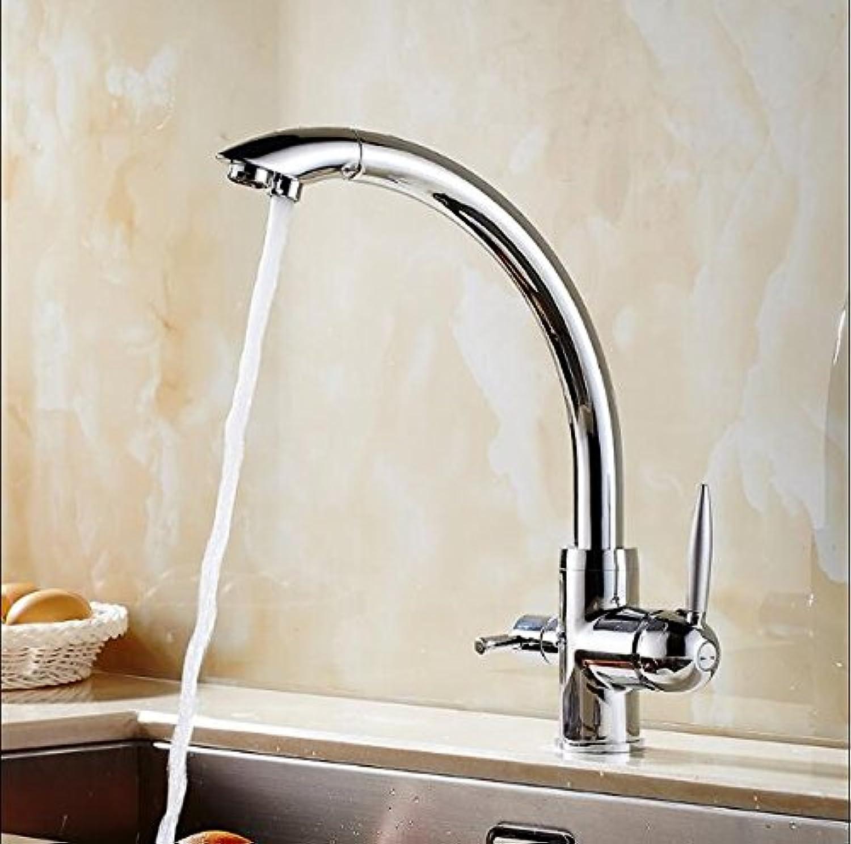 Retro Deluxe faucetinging massivem Messing Chrome Finish Osmose Rückseite Tri Flow Wasser Filter Spüle Drei Mglichkeiten Armatur Mixer 3Wege Küchenarmatur, silber
