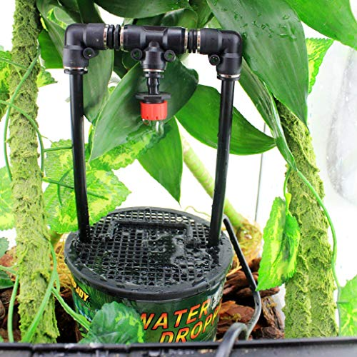 LOVEJIE Tree Habitat Crawling Chameleon Lizard Gecko Drinking Fountain Rainforest Cylinder Water Filter Dripper