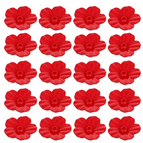 Yardwe 25 Stück Kolibri Feeder Ersatz Blumen Hängen Vogel Feeder Dekorative Blume Wildvogel Feeder für Vogel Feeder Home Farm Garten im Freien (Rot)
