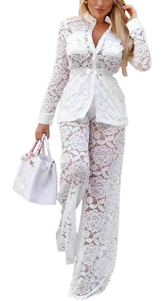 ネズミ更新する動作女性ブレザーセクシー花レース2ピース衣装ロングスリーブロングパンツセット
