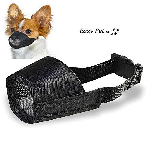 My Pet Maulkorb für Hunde, Größe XXS, atmungsaktiv, Bissschutz, Nylon, 12 cm Umfang vorne, 18 cm Umfang hinten, 3,75 cm Abstand von Nase zu Auge, Schwarz