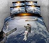 Housse De Couette 140X200Cm Astronaute, Vaisseau Spatial Housse Couette Imprimé en Microfibre,Housses De Couettes avec Fermeture Éclair,Parure De Lit 1 Place avec Taie d'oreiller