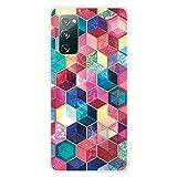 YaMiDe Funda para Samsung S20FE, [Un Protector de Pantalla], Funda Colorido con Patrón Exquisito, Funda de TPU Suave Ultrafino,Impreso con patrón Colorful Cube