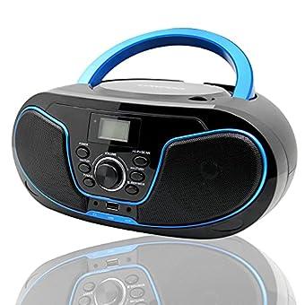 ✿【Kinder CD-Player】Top-Loading CD Player, modern design mit LCD-Display und dual stereolautsprechern (2x2 Watt RMS), Knob regelt die Lautstärke, kompatibel mit CD /CD-R / CD-RW. ✿【Radio CD】 Das UKW-Radio bietet lokale Radiosender oder die neuesten na...