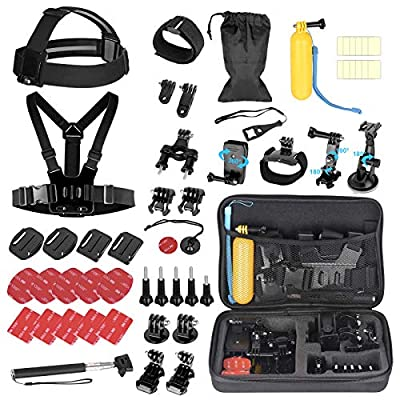 Emart Action Camera Accessories Kit for GoPro Hero 9 8 7 6 5 4 3+ 3 2 Black Accessory Bundle Set Compatible with AKASO, SJCAM, Campark, DJI OSMO, APEMAN Action Camera by EMART