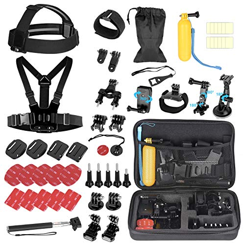 EMART 53-in-1 Action Camera Accessories Kit, Accessory Bundle Set for GoPro Hero Session Fusion 9 8 Max 7 6 5 4 3 3+ 2 1 Black Accessories Insta360 DJI Osmo Action AKASO APEMAN Campark Xiaomi Yi