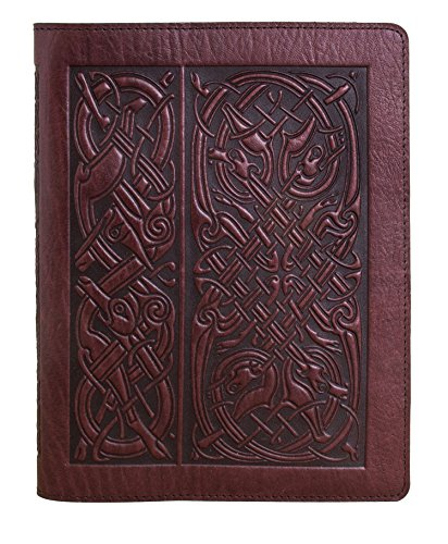 Genuine Leather Composition Notebook Cover with Insert, 8.25 x 10.25 Inches, Celtic Hounds, Wine Color, Made in the USA by Oberon Design