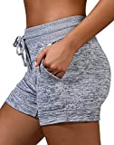 90 Degree By Reflex Soft and Comfy Activewear Lounge Shorts with Pockets and Drawstring for Women - Heather Grey - Large
