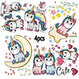 Kibi 4PCS Stickers Muraux Licorne Stickers Muraux Nuage Cheval Lune et Étoiles Amovible Autocollant Licorne Stickers pour Chambre Bébé Chambre Enfant Chambre Pépinière