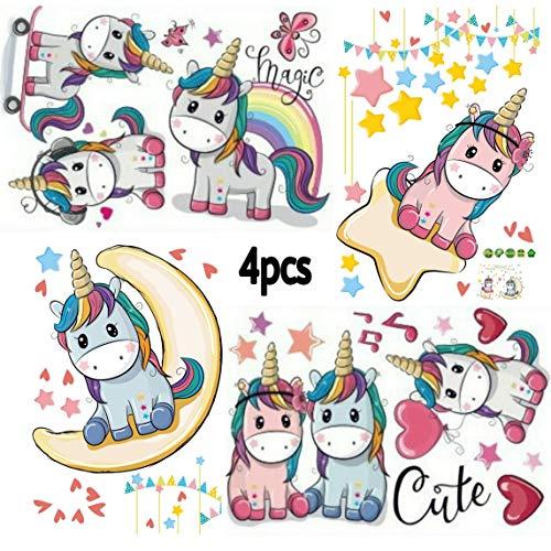 Kibi 4PCS Unicornio Pegatinas de Pared de Unicornio Para Niñas Niños Dormitorio Pegatinas Unicornio Pared Pegatina de Pared Acuarela Mundo de Unicornio Stickers Unicornio Pared