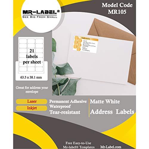 Forte autoadesivo avvolgente per stampante a getto dinchiostro // laser 10 fogli in totale 70 etichette bianco opaco Mr-Label etichette impermeabili per bottiglie dacqua