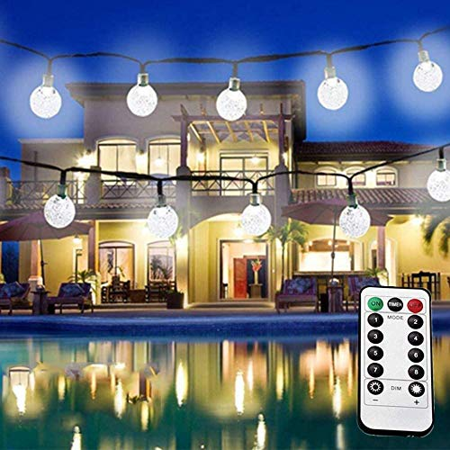 LiyuanQ LED Globe String Lights, 8 Modes 60 Crystal Balls Battery Operated String Lights with Remote Timer, 33 Feet Waterproof Indoor String Lights Home Wedding Birthday Party Decor (Cool White)