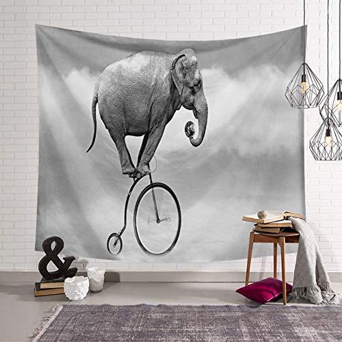 Tapiz De Pared,Indio Hippie Tapices Elefante Gris Divertido Montar En Bicicleta Indias Trippy Bohemia Colgante De Pared Decoración De Pared Para Dormitorio Sala De Estar Toalla De Playa,90.1×70.9I