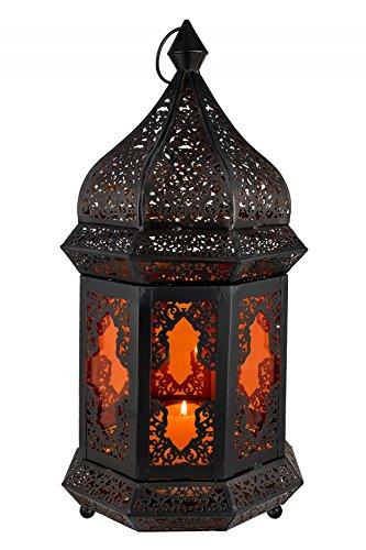 Orientalische Laterne aus Metall & Glas Wifaq Orange40cm | orientalisches Windlicht schwarz mit Glas | Marokkanische Glaslaterne für draußen als Gartenlaterne, oder Innen als Tischlaterne