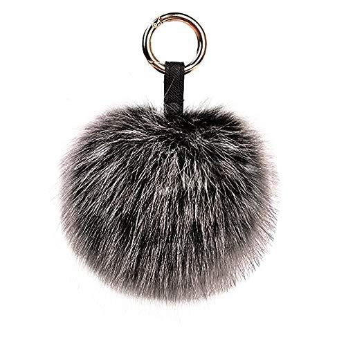 Genuine Fox Fur Pom Pom Keychain Bag Charm Car Purse Charm Fluffy Fur Ball for Car Key Ring Handbag Tote Bag Pendant (Snow Black)