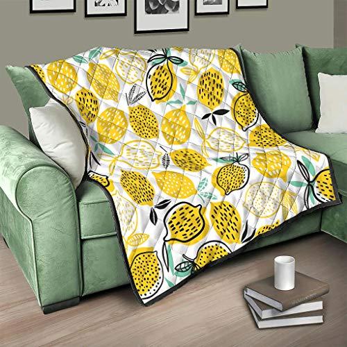 Flowerhome Colcha reversible de color limón, para adultos y niños, color blanco, 150 x 200 cm