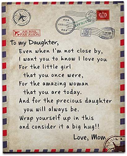 DF Manta para mi hija de mamá, 150 x 200 cm, manta de franela para regalo, colcha impresa con letras, manta súper suave para dormitorio y sala de estar