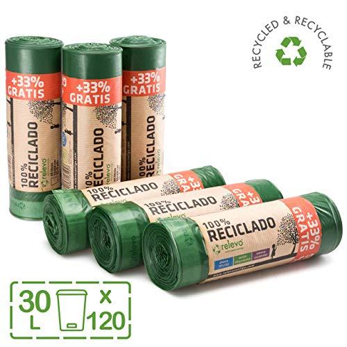 Relevo sacs poubelle 100% recyclés, très résistant 30L, 120 pièces