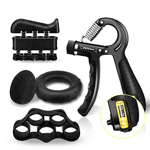 Grip Strength Trainer Counting Forearm Strengthener Workout Kit 5 Packs, Adjustable Resistance Hand Grip Strengthener 11-132 Lbs, Finger Exerciser, Finger Stretcher, Grip Ring, Stress Relief Grip Ball