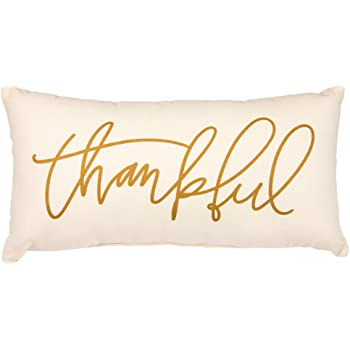 Primitives by Kathy Hand-Lettered Double-Sided Throw Pillow, 20 x 10-Inches, Thankful