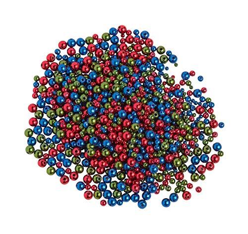 Rudolf Vater GmbH & Co. KG Perles cirées, mélange Rouge Bleu Vert, 1000 pc.