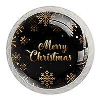キッチンキャビネットノブ4個セット-プルノブ引き出しとドレッサーハンドル- 金色の雪片とメリークリスマスの背景