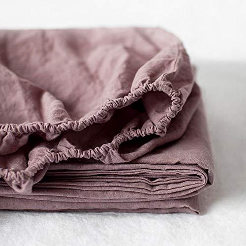 Simple&Opulence Spannbetttuch, 100 % Leinen, 1 Stück, natürlicher belgischer Flachs, volle Größe, 35,6 cm tiefe Tasche, steingewaschen, Landhaus-Bettwäsche, Lila